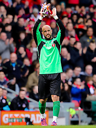 Pepe Reina applauds the crowd as he is replaced - Photo mandatory by-line: Matt McNulty/JMP - Mobile: 07966 386802 - 29/03/2015 - SPORT - Football - Liverpool - Anfield Stadium - Gerrard's Squad v Carragher's Squad - Liverpool FC All stars Game