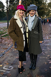 © Licensed to London News Pictures. 05/11/2017. London, UK. CAROL KIRKWOOD and LOUISE MINCHIN takes part at the Hyde Park start of the annual Bonhams London To Brighton Veteran Car Run. Photo credit: Ray Tang/LNP