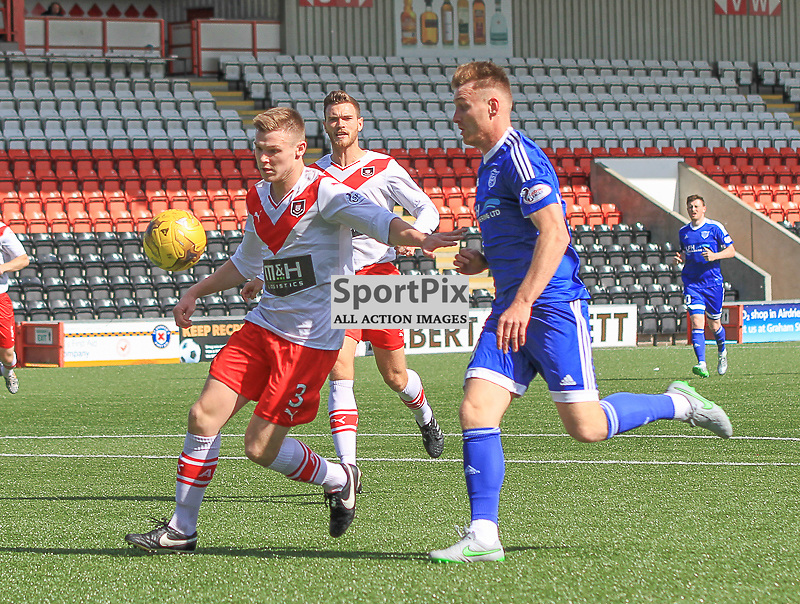 Airdrieonians V Peterhead  Scottish League One 29 August 2015;  Peterhead's Rory McAllister and Airdrie's Chris O'Neil during the Airdrieonians V Peterhead Ladbrokes Scottish League One match played at Excelsior Stadium, Airdrie.