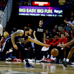 Dec 26, 2016; New Orleans, LA, USA;  Dallas Mavericks guard Deron Williams (8) and New Orleans Pelicans guard Langston Galloway (10) scramble for a loose ball during the second quarter of a game at the Smoothie King Center. Mandatory Credit: Derick E. Hingle-USA TODAY Sports