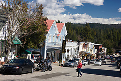 Street view of shops and stores along Broad Street, Nevada City, California, United States of America