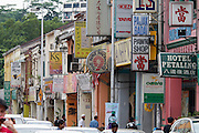 Malaysia, Kuala Lumpur. Chinatown. Traditional houses in Petaling Street.