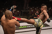 JOHANNESBURG, SOUTH AFRICA - MAY 13:  Alain Ilunga kicks Jeff Madiba during EFC 49 Fight Night at the Big Top Arena, Carnival City, Johannesburg, South Africa on May 13, 2016. (Photo by Anton Geyser/ EFC Worldwide)