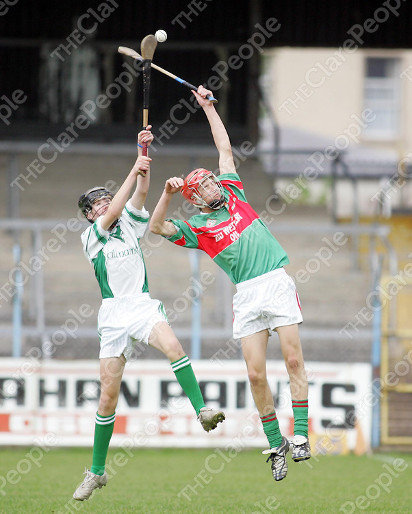 Clooney Quinn's Eoin McNamara contests with Inagh Kilnamona's Brian Arthur in thier meeting in the Minor A Hurling Final played in Cusack Park, Ennis on Sunday. Pic. Brian Arthur/ Press 22.