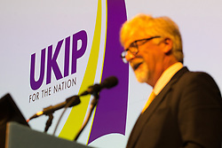 © Licensed to London News Pictures . 29/09/2017 . Torquay , UK . Interim Leader STEVE CROWTHER unviels one of two new logos for the party , featuring a purple and yellow sail . UKIP is due to announce the winner of a leadership election which has the potential to split the party . Photo credit: Joel Goodman/LNP