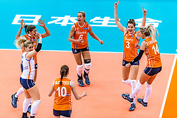 15-10-2018 JPN: World Championship Volleyball Women day 16, Nagoya<br /> Netherlands - USA 3-2 / Kirsten Knip #1 of Netherlands, Anne Buijs #11 of Netherlands, Maret Balkestein-Grothues #6 of Netherlands, Lonneke Sloetjes #10 of Netherlands, Yvon Belien #3 of Netherlands, Laura Dijkema #14 of Netherlands
