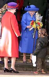 .TTP11-AP-ROYALS/SANDRINGHAM-DIG..PIC BY ANDREW PARSONS . THE ROYAL FAMILY ON CHRISTMAS DAY  AT CHURCH IN SANDRINGHAM , NORFOLK. THE QUEEN AND THE QUEEN MOTHER RECEIVING FLOWERS FROM CHILDREN AFTER THE SERVICE Royals in Sandringham..The Royal Family on Christmas Day at church in Sandringham, Norfolk. The Queen and the Queen Mother 2000. Photo by Andrew Parsons/i-Images.Royals in Sandringham..The Royal Family on Christmas Day at church in Sandringham, Norfolk. The Queen and the Queen Mother 2000. Photo by Andrew Parsons/i-Images.