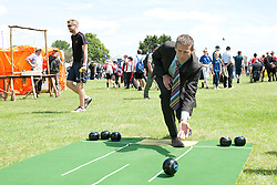 Steve Cram tries out the bowls mat in the Sports Zone<br /> <br /> Steve Cram spent the day at the Lincolnshire Show with Clydesdale Bank and Yorkshire Bank.  He also visited the Sports Zone, at the show, which was organised by Lincolnshire Sport.<br /> <br /> Picture: Chris Vaughan/Chris Vaughan Photography<br /> Date: Wednesday, June 24, 2015