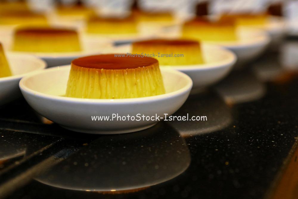 Crème Caramel dessert with caramelized sugar