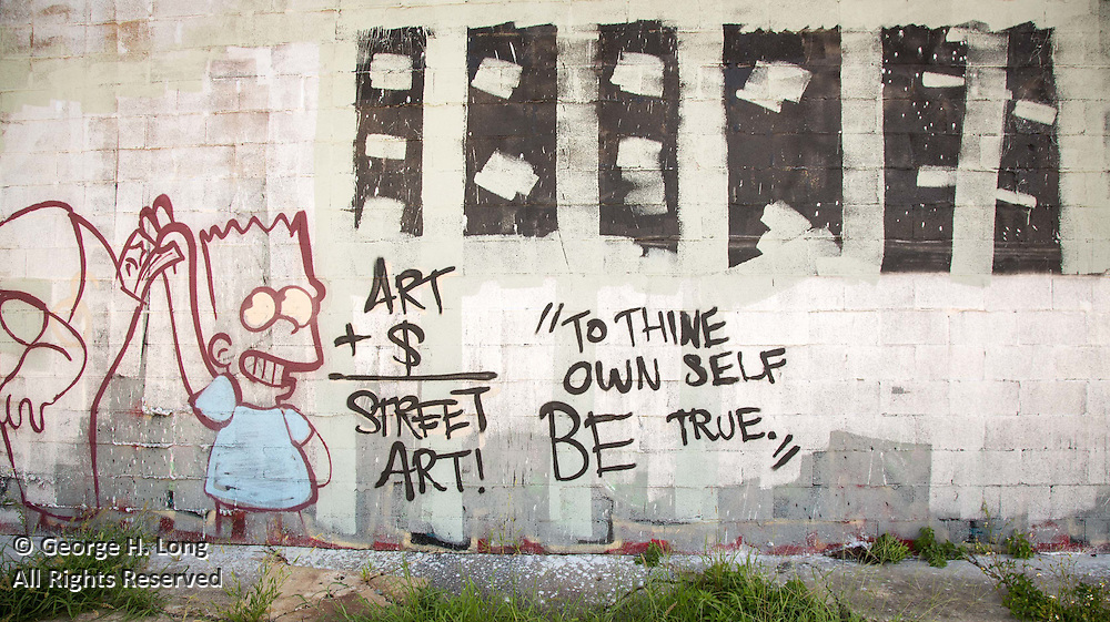 "graffiti in New Orleans; ""To thine own self be true.""; Art plus money equals street art; Art + $ = Street Art!; Bart Simpson steals money from pocket"