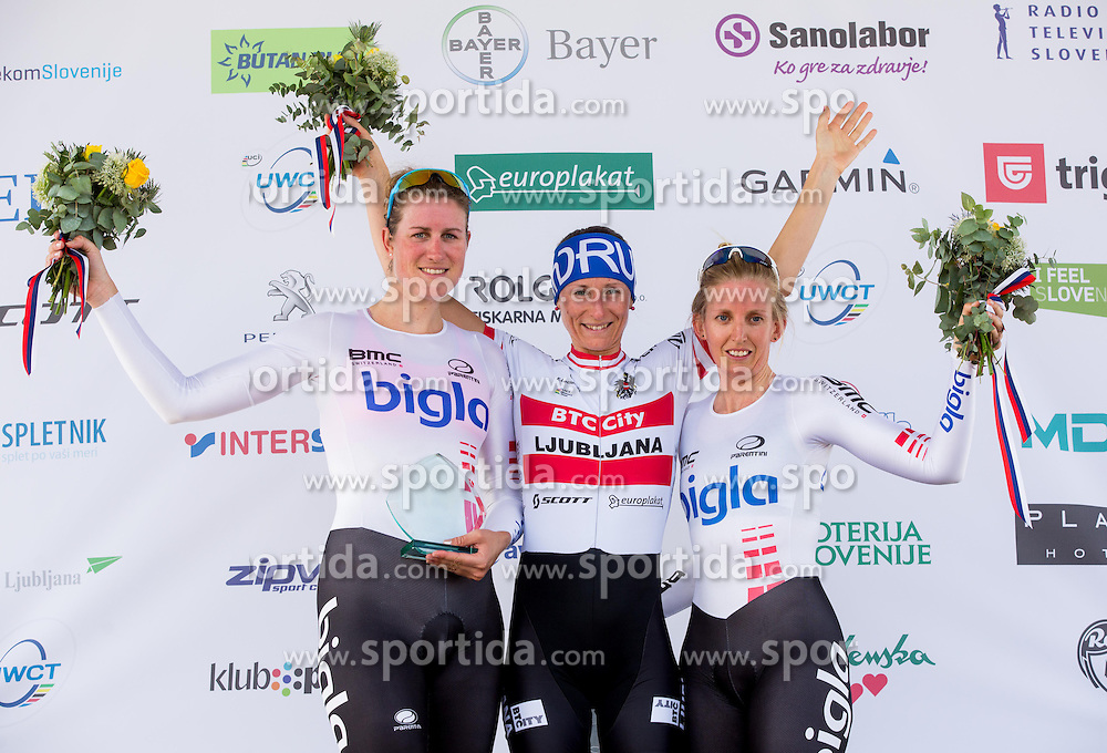 Second placed Vera Koedooder (NED) of  Bigla Cycling Team, Martina Ritter (AUT) of BTC City Ljubljana, Winner and third placed Taryn Heather (AUS) of Bigla Cycling Team in women category at trophy ceremony after the Grand prix of Ljubljana and Slovenian national individual Time Trial Championship at cycling Marathon Franja BTC City 2014 on June 4, 2014 in BTC, Ljubljana, Slovenia. Photo by Vid Ponikvar / Sportida