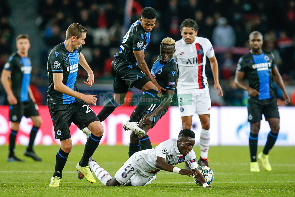 November 6, 2019, Paris, France: Club's Hans Vanaken, Club's Emmanuel Bonaventure Dennis, Club's Krepin Diatta and PSG's Idrissa Gueye fight for the ball during the match between French club Paris Saint-Germain Football Club and Belgian soccer team Club Brugge KV, Wednesday 06 November 2019 in Paris, France, on day four in Group A, in the first round of the UEFA Champions League. (Credit Image: © Bruno Fahy/Belga via ZUMA Press)