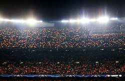 Barcelona fans wave flags under the floodlights of the Camp Nou Stadium - Mandatory by-line: Matt McNulty/JMP - 14/03/2018 - FOOTBALL - Camp Nou - Barcelona, Catalonia - Barcelona v Chelsea - UEFA Champions League - Round of 16 Second Leg