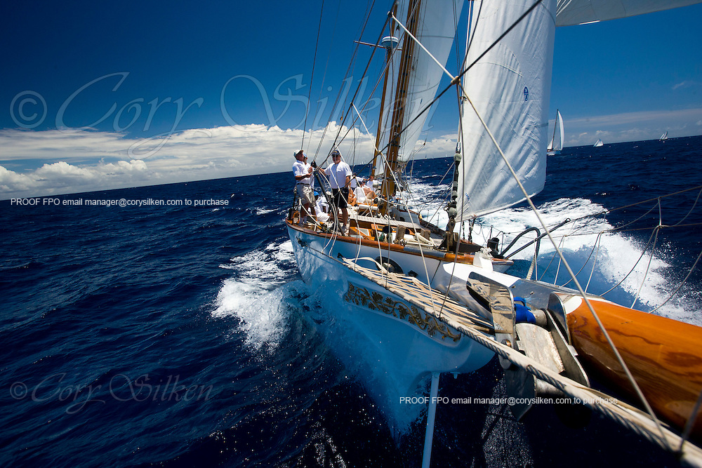 Ticonderoga sailing the Cannon Race at the Antigua Classic Yacht Regatta.