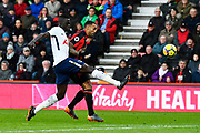 Davinson Sanchez (6) of Tottenham Hotspur chases down Callum Wilson (13) of AFC Bournemouth to clear the ball in to the stand during the Premier League match between Bournemouth and Tottenham Hotspur at the Vitality Stadium, Bournemouth, England on 11 March 2018. Picture by Graham Hunt.
