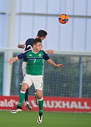 EDINBURGH, SCOTLAND - Sunday, October 30, 2016: Northern Ireland's Callum Ferris in action against Scotland during the opening match of the Under-16 2016 Victory Shield at ORIAM. (Pic by David Rawcliffe/Propaganda)