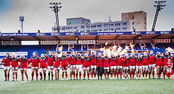 Wales women line up for the anthems<br /> <br /> Photographer Simon King/Replay Images<br /> <br /> Six Nations Round 1 - Wales Women v Italy Women - Saturday 2nd February 2020 - Cardiff Arms Park - Cardiff<br /> <br /> World Copyright © Replay Images . All rights reserved. info@replayimages.co.uk - http://replayimages.co.uk