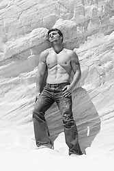 hot guy without a shirt leaning against a sand dune