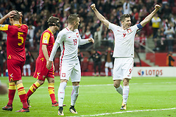 October 8, 2017 - Warsaw, Poland - Robert Lewandowski and Piotr Zielinski of Poland celebrate scoring during the FIFA World Cup 2018 Qualifying Round Group E match between Poland and Montenegro at National Stadium in Warsaw, Poland on October 8, 2017  (Credit Image: © Andrew Surma/NurPhoto via ZUMA Press)