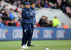 Middlesbrough manager Tony Pulis and Sunderland manager Chris Coleman during the FA Cup, third round match at the Riverside Stadium, Middlesbrough.