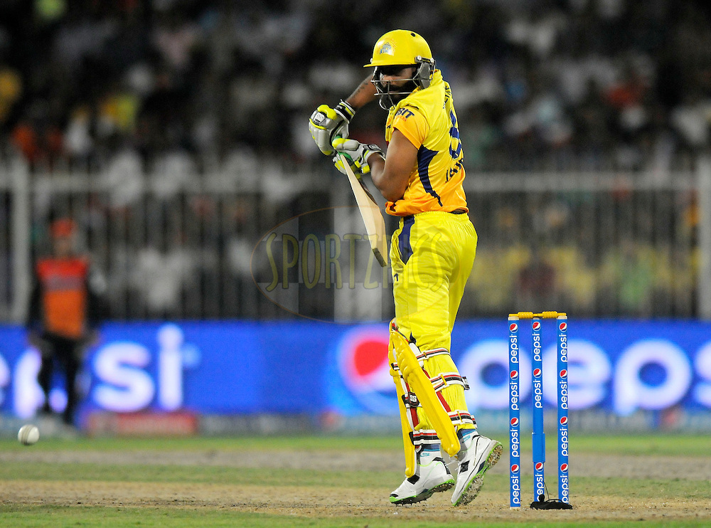 Ravindra Jadeja of The Chennai Superkings  bats during match 16 of the Pepsi Indian Premier League 2014 between the Delhi Daredevils and the Mumbai Indians held at the Sharjah Cricket Stadium, Sharjah, United Arab Emirates on the 27th April 2014<br /> <br /> Photo by Pal Pillai / IPL / SPORTZPICS