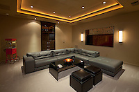 Leather furniture in living room of luxury villa