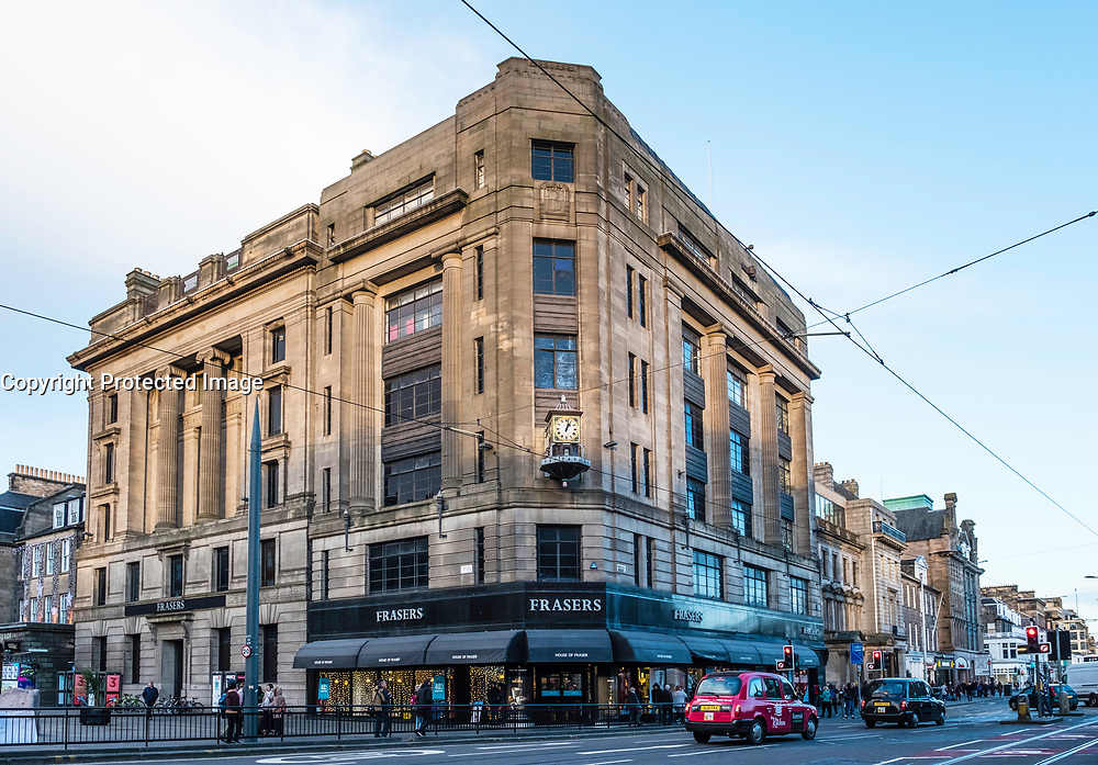 Exterior view of Frasers department store on princes Street in Edinburgh, Scotland, United Kingdom