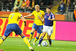 13.07.2011, Commerzbank Arena, Frankfurt, GER, FIFA Women Worldcup 2011, Halbfinale,  Japan (JPN) vs. Schweden (SWE), im Bild.Annica Svensson (Schweden) (L) gegen Aya Sameshima (Japan).. // during the FIFA Women´s Worldcup 2011, Semifinal, Japan vs Sweden on 2011/07/13, Commerzbank Arena, Frankfurt, Germany.   EXPA Pictures © 2011, PhotoCredit: EXPA/ nph/  Mueller       ****** out of GER / CRO  / BEL ******