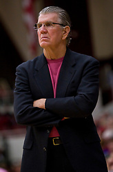 February 18, 2010; Stanford, CA, USA;  Oregon Ducks head coach Paul Westhead during the first half against the Stanford Cardinal at Maples Pavilion.  Stanford defeated Oregon 104-60.