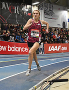 Feb 10, 2018; Boston, Massachussetts, USA; Kelsey Chmiel wins the junior girls mile in 4:44.84 during the New Balance Indoor Grand Prix at Reggie Lewis Center.