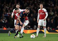 Football - 2018 / 2019 UEFA Europa League - Semi-Final, First Leg: Arsenal vs. Valencia CF<br /> <br /> Cristiano Piccini (Valencia) attempts to break away from GranitXhaka (Arsenal FC) at The Emirates.<br /> <br /> COLORSPORT/DANIEL BEARHAM