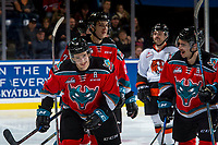 KELOWNA, CANADA - NOVEMBER 25: James Hilsendager #2 and Dillon Dube #19 of the Kelowna Rockets celebrate a goal against the Medicine Hat Tigers on November 25, 2017 at Prospera Place in Kelowna, British Columbia, Canada.  (Photo by Marissa Baecker/Shoot the Breeze)  *** Local Caption ***