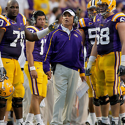 19 September 2009: LSU Tigers head coach Les Miles on the sideline during a game between the University of Louisiana Lafayette Ragin' Cajuns and the  LSU Tigers at Tiger Stadium in Baton Rouge, Louisiana.