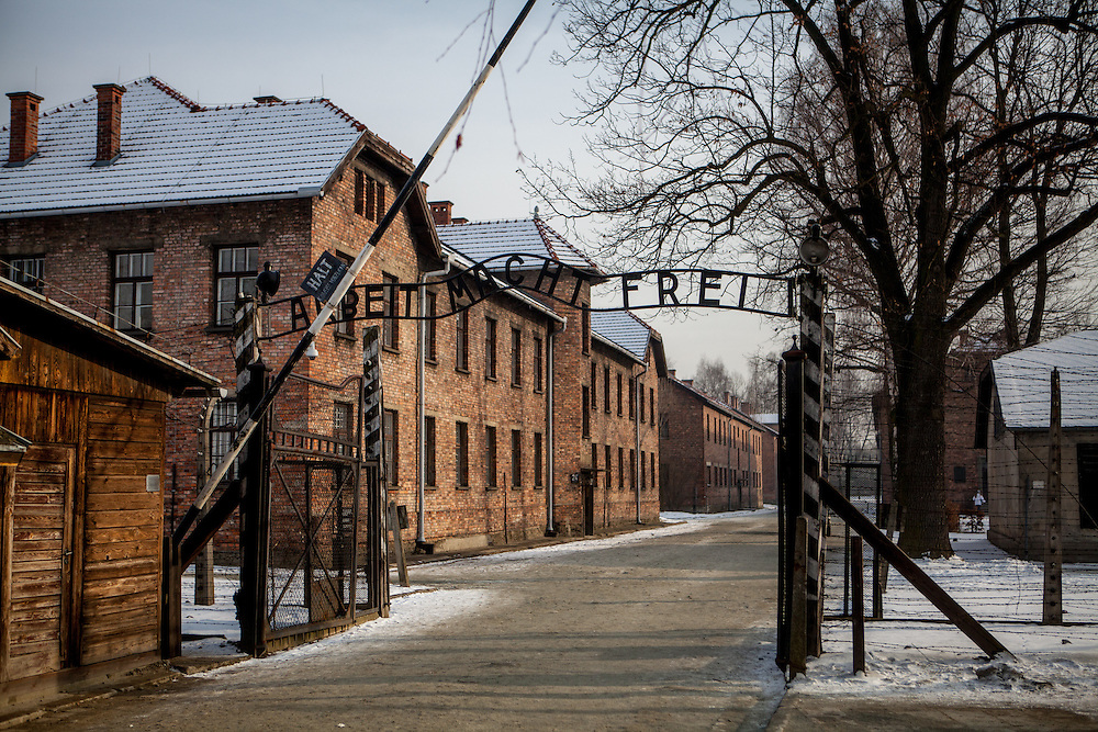 """The words 'Arbeit macht frei' ('Work makes free"""") above the entrance to the Auschwitz Nazi concentration camp. It is estimated that between 1.1 and 1.5 million Jews, Poles, Roma and others were killed in Auschwitz during the Holocaust in between 1940-1945."""
