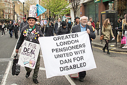 "London, April 16th 2016. Pensioners march in solidarity with the disabled as thousands of people supported by trade unions and other rights organisations demonstrate against the policies of the Tory government, including austerity and perceived favouring of ""the rich"" over ""the poor""."