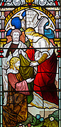 Victorian 19th century stained glass window, Shimpling church, Suffolk, England, UK by Powell c 1878