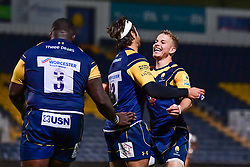 Dean Hammond of Worcester Cavaliers celebrates his try with team mates - Mandatory by-line: Craig Thomas/JMP - 23/10/2017 - RUGBY - Sixways Stadium - Worcester, England - Worcester Cavaliers v Wasps - Aviva A League