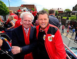 Bristol City manager, Steve Cotterill and Chairman Keith Dawe on the top deck of the open top bus tour- Photo mandatory by-line: Joe Meredith/JMP - Mobile: 07966 386802 - 04/05/2015 - SPORT - Football - Bristol -  - Bristol City Celebration Tour