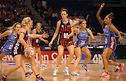 Bailey Mes of the Tactix looks for the pass receive during the ANZ Championship Netball game between the Tactix v Steel at Horncastle Arena in Christchurch. 6th April 2015 Photo: Joseph Johnson/www.photosport.co.nz