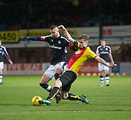 Partick Thistle's Liam Lindsay tackles Dundee&rsquo;s Marcus Haber - Dundee v Partick Thistle in the Ladbrokes Scottish Premiership at Dens Park, Dundee.Photo: David Young<br /> <br />  - &copy; David Young - www.davidyoungphoto.co.uk - email: davidyoungphoto@gmail.com