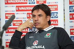 NOVI SAD, SERBIA - Monday, September 10, 2012: Wales' manager Chris Coleman during a press conference at the Karadorde Stadium ahead of the 2014 FIFA World Cup Brazil Qualifying Group A match against Serbia. (Pic by David Rawcliffe/Propaganda)
