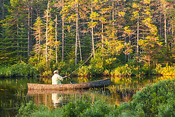 A man fly-fishing on Little Berry Pond in Maine's Northern Forest. Cold Stream watershed, Johnson Mountain Township.