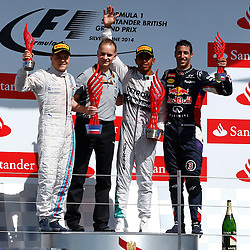 FORMULA 1 SANTANDER BRITISH GRAND PRIX .. Lewis Hamilton 1st, Valtteri Bottas 2nd and Daniel Ricciardo 3rd in the British GP of the British GP...(c) STEPHEN LAWSON | SportPix.org.uk