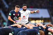 Fijian scrum half Nikola Matawalu organises his troops at a scrum in the second half during the Autumn International Series match between England and Fiji at Twickenham, Richmond, United Kingdom on 19 November 2016. Photo by Ian  Muir.