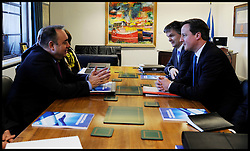 Scottish First Minister Alex Salmond meets British Prime Minister David Cameron and Michael Moore Scottish Secretary of State (far right) during talks on the Scottish Independence referendum in St Andrews House on February 16, 2012 in Edinburgh, Scotland. David Cameron said he would consider devolving further powers for Scotland if the Scottish people voted against independence in a referendum. Photo By Andrew Parsons/ i-Images<br />