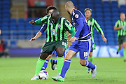 Bayo Akinfenwa of AFC Wimbledon during the Capital One Cup match between Cardiff City and AFC Wimbledon at the Cardiff City Stadium, Cardiff, Wales on 11 August 2015. Photo by Stuart Butcher.