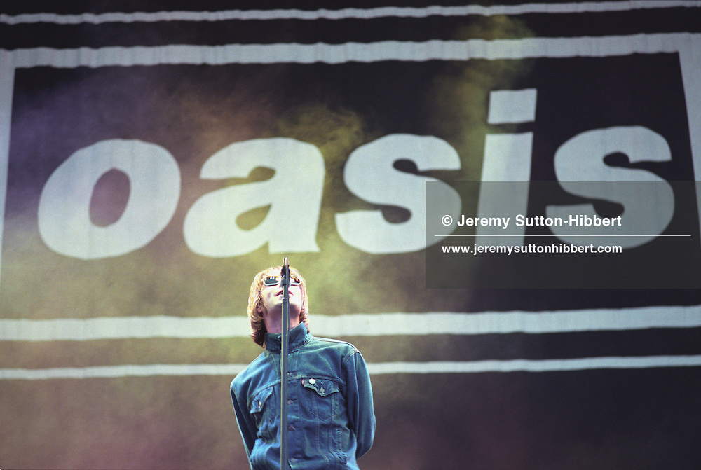 Noel and Liam Gallagher/ Oasis in concert at Loch Lomond, Scotland, in 1996.<br /> Rex 261678 JSU.