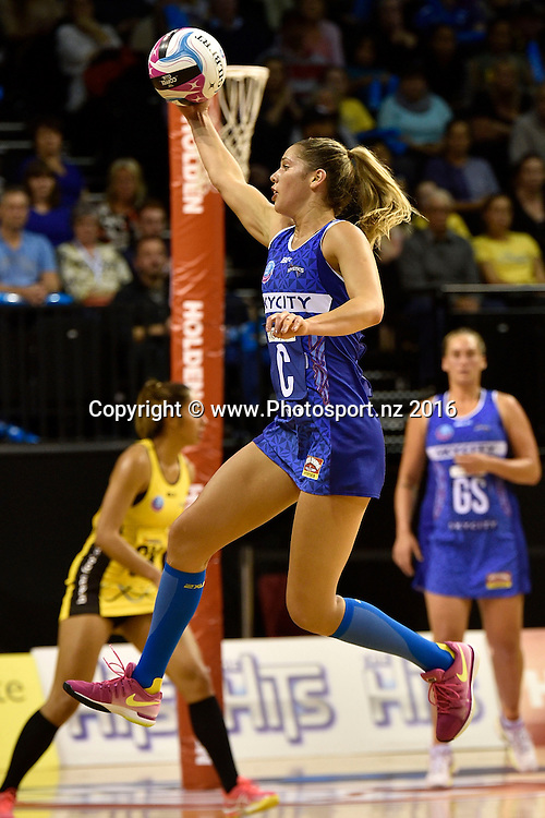 Mystics' Kayla Cullen takes a pass during the ANZ Champs - Pulse v Mystics netball match at TSB Arena in Wellington on Monday the 18 April 2016. Copyright Photo by Marty Melville / www.Photosport.nz