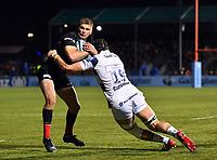 Rugby Union - 2019 / 2020 Gallagher Premiership - Saracens vs. Bristol Bears<br /> <br /> Saracens' Owen Farrell is tackled by Bristol Bears' Ed Holmes, at Allianz Park.<br /> <br /> COLORSPORT/ASHLEY WESTERN