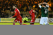 Goal - Ollie Palmer (9) of Crawley Town celebrates scoring a goal to give a 0-1 during the EFL Sky Bet League 2 match between Plymouth Argyle and Crawley Town at Home Park, Plymouth, England on 28 January 2020.